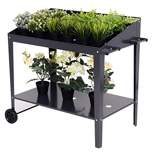 (Thaisan7, Raised Garden Bed Potting Bench Work Station Plant Storage Shelf,Smooth life, 38.5