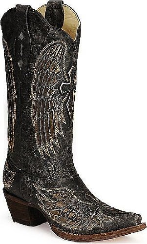 Corral Boots Women's Angel Wing Cross Inlay Cowgirl Boot ...