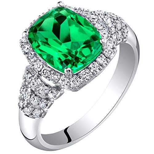 14K White Gold Created Colombian Emerald and Lab Grown Diamond Ring 3.29 carats total Cushion Cut ()