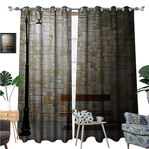 BlountDecor Street Window Curtain Drape Modern Avenue at Dark Night with a Open Lamp and Bench and Stone Wall Behind Image Decorative Curtains for Living Room W96 x L108 Multicolor ()
