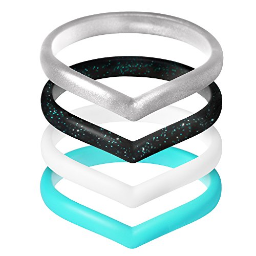(ThunderFit Womens V Style Stackable Rings 4 Pack Thin Silicone Wedding Rings (White, Black Glitter, Silver, Teal, 4.5-5)