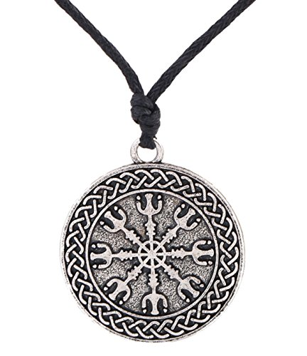MY SHAPE Antique Silver Pendant Necklace Irish Celtic Knot Engraved Pagan Talisman Wicca Necklaces Amulet Jewelry for Men Women (Silver)