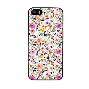 Funda carcasa TPU (Gel) para Apple iPhone 5 5S diseño estampado flores verde rosa pastel borde negro
