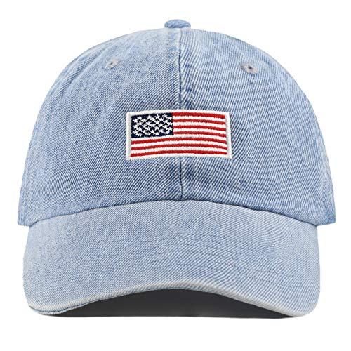 100% Cotton Dad HAT Flag Low Profile Adjustable Baseball Cap (Flag - Light Denim) ()