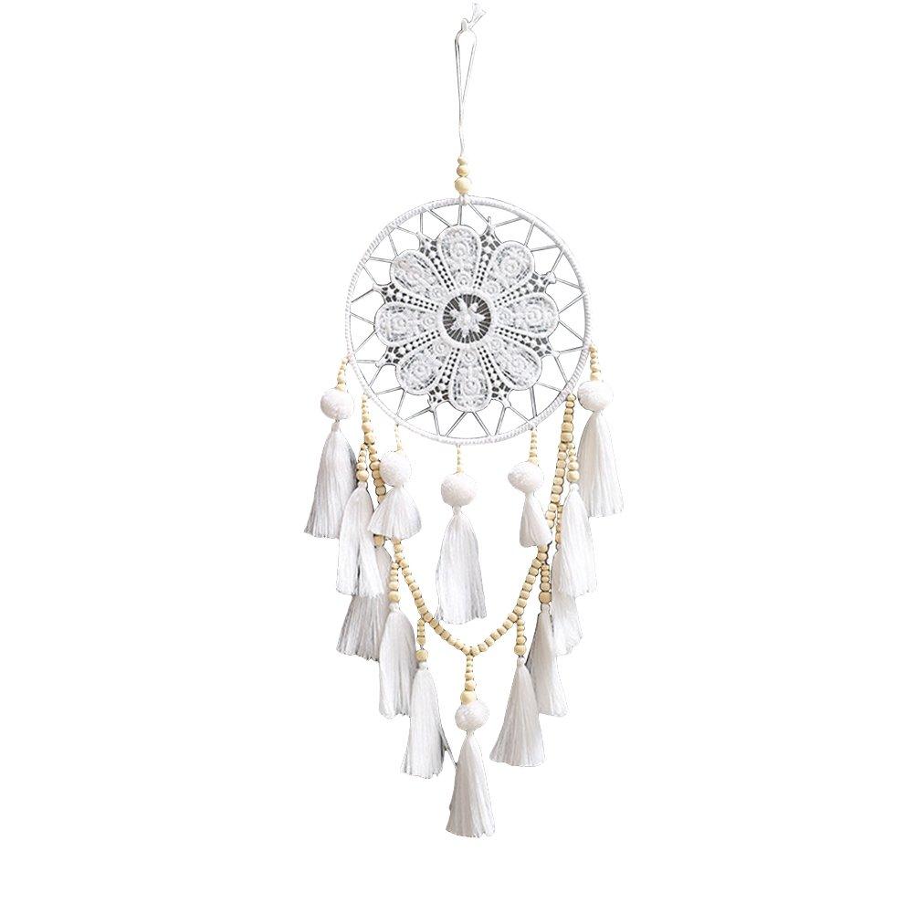 Vimbhzlvigour acchiappasogni, lavorati a mano Legno indiano con perline nappe bianco White