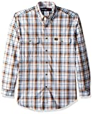 Wrangler Men's Riggs Workwear Foreman Plaid Long Sleeve Work Shirt, Brown, M