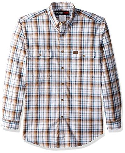 Wrangler Men's Riggs Workwear Foreman Plaid Long Sleeve Work Shirt, Brown, L ()