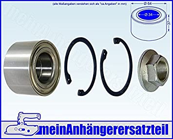Lager /Ø64 // /Ø 34 x 37mm Nr.410250.001 Wasserdicht FKAnh/ängerteile 2 x Knott Radlager- Set