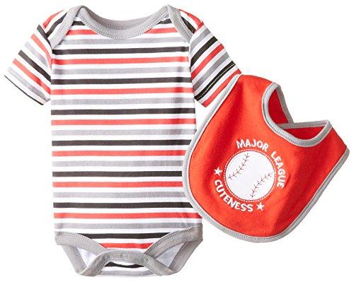 Bon Bebe Baby Boys' Newborn Major League Cuteness Bib and Bodysuit Set, Multi, 0-3 Months