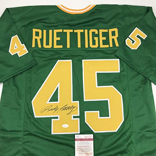 Autographed/Signed Rudy Ruettiger Notre Dame Green College Football Jersey JSA COA