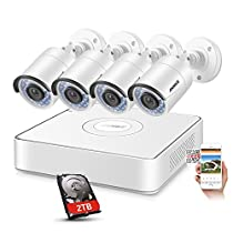 ANNKE Security 4 Channel sPoE IP Surveillance Camera System with 4 Outdoor/Indoor 1.3 Megapixel 960P Bullet Cameras, IP67 Weatherproof, 2TB HDD, Free Remote View, Super HD Night Vision
