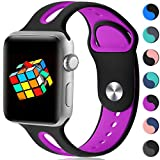 Haveda Sport Bands Compatible for Apple Watch 42mm/44mm, Soft Sport Replacement Bracelet Bands for Apple Watch, iWatch Series 4/3/2/1,Women Men Kids 42mm/44mm S/M Black/Purple