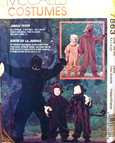 [OOP McCalls Costume Pattern 7863. Adult/mens Sz XL,(42/44) Gorilla, Monkey & Bear Costume] (Gorilla Costume Pattern)