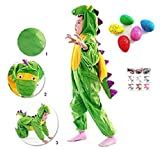 【ELEEJE】 恐竜 だぁ~! みんな が 驚く ☆ カッコイイ 恐竜 コスプレ ! ハロウィン キッズ 男の子 の なりきり 着ぐるみ 子供 用 ( 恐竜の着ぐるみM サイズ ・ びっくり たまご ・ タトゥ シール )