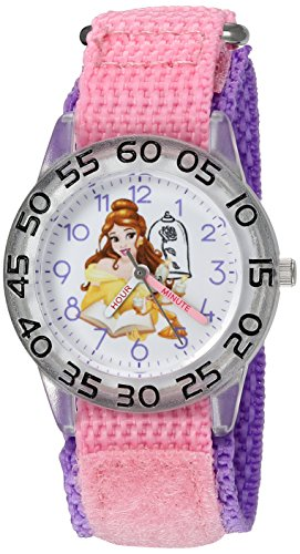 (Disney Girl's 'Belle' Quartz Plastic and Nylon Watch, Color:Pink (Model:)
