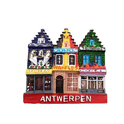 Imán magnético de resina para nevera de Amberes Bélgica 3D de resina, colección de regalos de recuerdo de la colección…