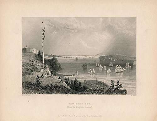 (Telegraph Station view of New York Bay 1838 old vintage U.S. print)