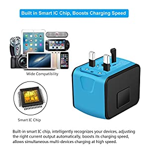 SAUNORCH Universal Travel Adapter | W/Smart High Speed 2.4A 4xUSB Wall Charger, European Adapter