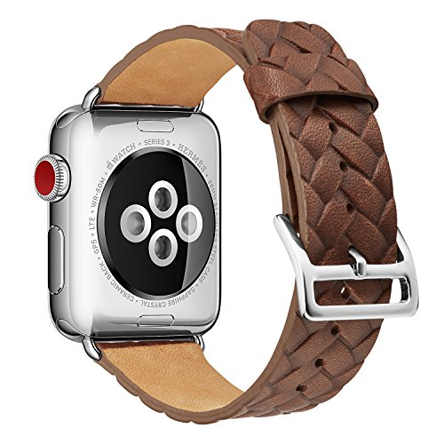 Ladies Polished Stainless Steel Case - Pierre Case Apple Watch Band 38mm,Woven Texture Genuine Leather Iwatch Strap Replacement Bands with Stainless Metal Clasp for Apple Watch Series 3 2 1 Sports Edition mens womens (Dark Brown)