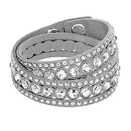 Dyad Jewellery Double Wrap Multi Strand Crystal Slake Swarovski Elements Crystals & Adjustable Suede Strap Wrap Bracelet in Light Grey with Multifaceted Clear Cut Crystals