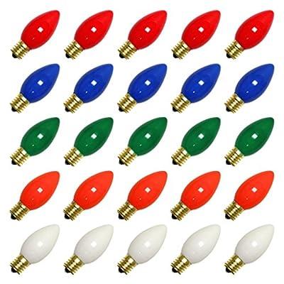 Vickerman 09760 - C9 Intermediate Screw Base Ceramic Multi-Color (25 pack) Christmas Light Bulbs (V472150)