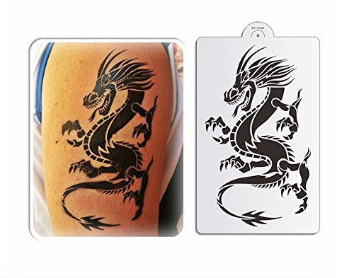 Stencils Set for Painting - Laser Cutting Floor Wall Tile Fabric Wood Cake Decorating Reusable Drawing DIY Stencils -Dragon and Phoenix Designs Scale Template (3 pcs) by ZOMCHAIN (Image #4)