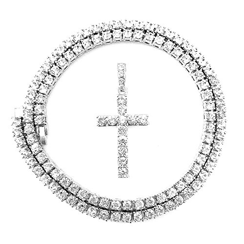 (HH Bling Empire Mens Iced Out Hip Hop Gold Artificial Diamond Ankh Cross cz Tennis Chain 22 Inch (Silver-Tennis-Cross C) )