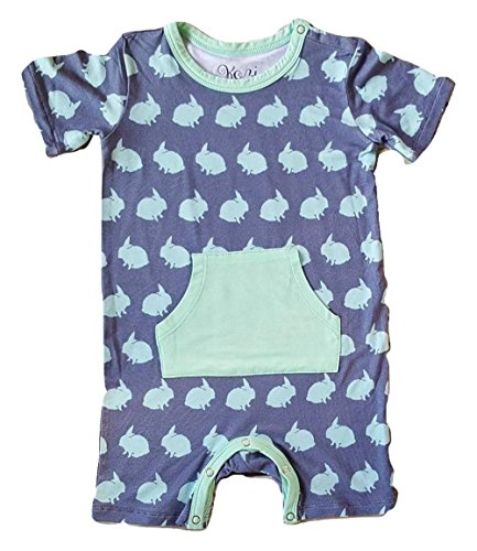 Kozi & Co. Little Boys Short Sleeve Romper - Bunny Hop 12-18 Months