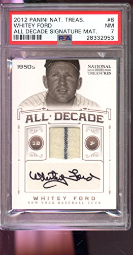 2012 Panini National Treasures Whitey Ford All Decade Game Used Jersey 3/5 Autograph AUTO Graded Card PSA 7 ()