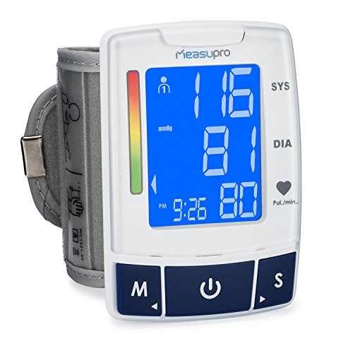 MeasuPro Easy Read Automatic Digital Wrist Cuff Blood Pressure Monitor with Heart Rate Detection, Two User Modes, Memory Recall and Large Backlit LCD Display