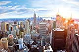 New York penthouse skyline photo wallpaper – Manhattan panorama view mural – XXL poster New York wall decoration 82.7 Inch x 55 Inch