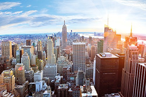 XXL Poster New York City Skyline - wall picture decoration sundown Penthouse view Manhattan America USA décor Big Apple NYC | Wallposter Photoposter wall mural wall decor by GREAT ART (55 Inch x 39 (Penthouse Accent)