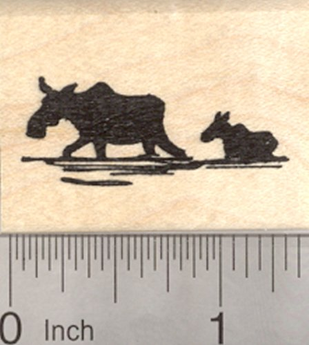 Moose Rubber Stamp, Female Cow and Baby Calf in Silhouette