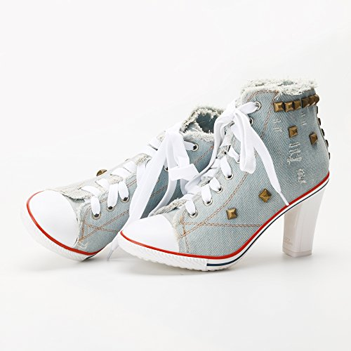 High Canvas Boots Up Heel Mode Ankle Rivet chunky Sneakers Damen Lace Hellblau OqBwgxF
