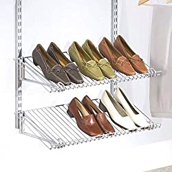 "Rubbermaid Configurations Shoe Rack - 26"" x 13"" - - Titanium - 2 Pack"
