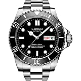 LOREO Mens Silver Stainless Steel Sapphire Glass Black Rotating bezel Men's Automatic date week Watch