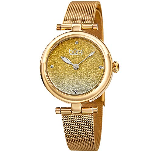 Gemstone Quartz Wrist Watch - Burgi Designer Women's Watch - Gold Tone Stainless Steel Mesh Strap - Swarovski Crystal Markers, Glitter Dial - Fashion Bracelet Band - BUR231YG