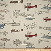 Premier Prints Vintage Air Pewter/Natural Fabric By The Yard