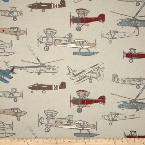 Premier Prints Vintage Air Pewter/Natural Fabric By The Yard (Air Pewter)