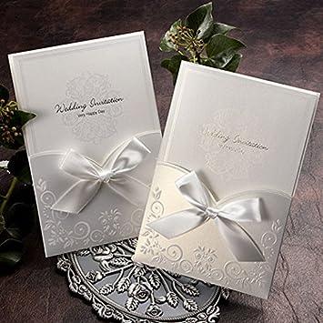 Amazon.com: Satin Ribbon Wedding Pocket Invitations 50 Kits / GA1016: Kitchen & Dining