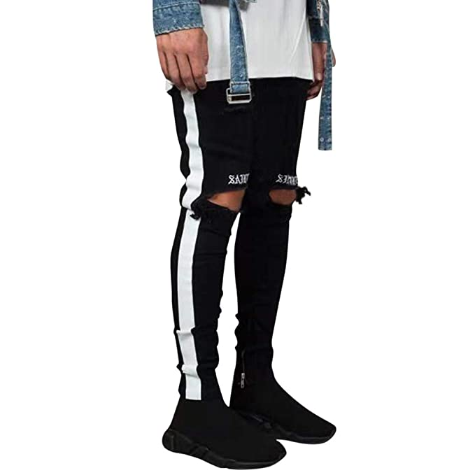 7c755b97f93 Amazon.com: Usstore Mens Teens Boys Hole Jeans Casual Fashion Stripe  Letters Embroidered Zipper Trouser Distressed Denim Pants: Clothing