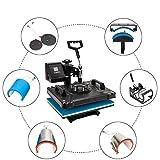 ROVSUN 8 in 1 Digital Heat Press Transfer Sublimation Multifunction Machine,Rhinestone/T-Shirt/Mug/Plate/Cap Heat Press Mouse Pads Jigsaw Puzzles DIY Press,12