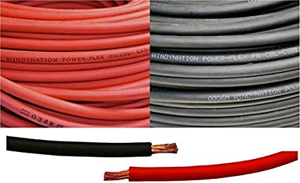 Battery Car Solar WINDYNATION 1//0 AWG 1//0 Gauge Red and Black Welding Lead /& Car Battery Copper Cable Wire RV Inverter