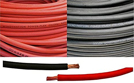 WINDYNATION 1/0 AWG 1/0 Gauge Red and Black Welding Lead & Car Battery Copper Cable Wire -- Car, RV, Inverter, Solar, Battery