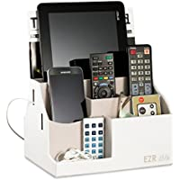 EZR Life All-in-One Remote Control Holder, Caddy, Organizer - White Leather - Also Holds Phones, Tablets, Books, Glasses (8 Compartments, up to 14 Remotes)