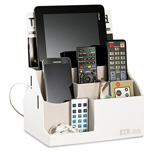 EZR Life All-in-One Remote Control Holder, Caddy, Organizer - White Leather - Also Holds Phones, Tablets, Books, Glasses (8 Compartments, up to 14 Remotes) by EZR life