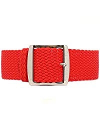 DaLuca Braided Nylon Perlon Watch Strap - Red (Polished Buckle) : 20mm