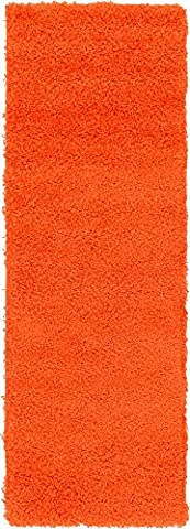 A2Z Rug Cozy Shaggy Collection 2x6-Feet Solid Area Rug - Tiger Orange (Kids Orange Rug)