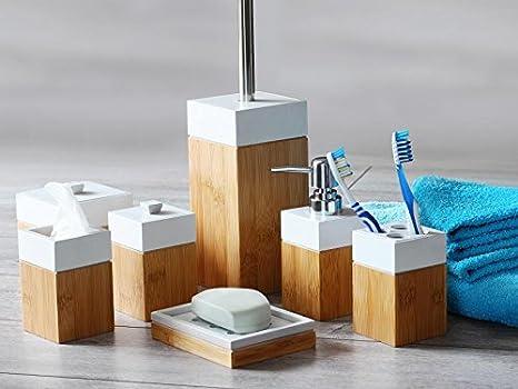 Mk bamboo bambù paris accessorio da bagno set pezzi amazon