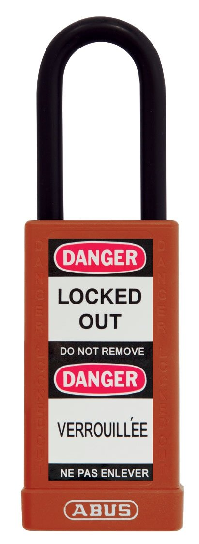 ABUS 74LB/40 KA Safety Lockout Non-Conductive Keyed Alike Padlock with 3-Inch Body and 1-1/2-Inch Shackle, Red